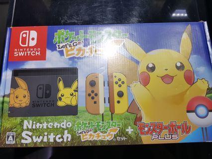Switch (Neon pink) with Pokemon Pikachu and Pokeball plus