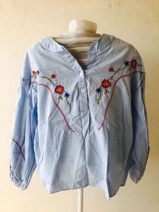 Embroidery Top Long Sleeve Bubble Sleeve Blouse
