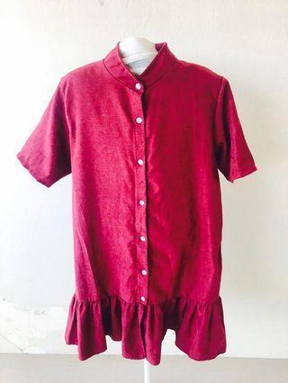 Red Velvet Shirt Dress