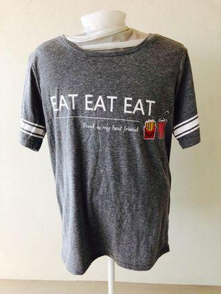 Grey Printed Slogan Tee T-Shirt Ladies Cotton Tee