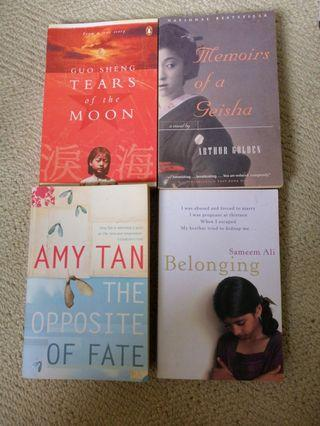 Tears of the moon, Memoirs of a geisha, The opposite of fate, Belonging