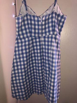 Blue motif square dress