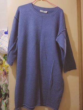 寬鬆針織灰藍色上衣