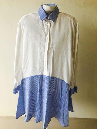 Long Sleeve Button Shirt Cotton Dress