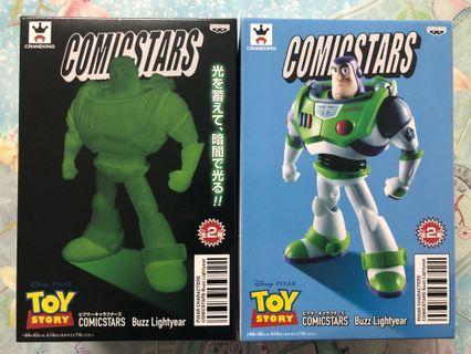 日版 巴斯光年 景品 夜光 原色 一對  (figure 模型 公仔 玩具 飾物 Disney toy story buzz lightyear Namco)