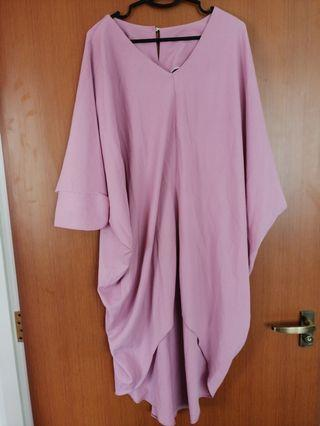 🚚 Dusty Pink Batwing Super Loose Oversize Dress