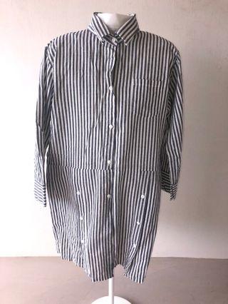 Striped Shirt Dress 3/4 sleeve Grey White Stripes