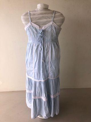 Maxi Blue Dress Lace Layered Dress Sapghetti Dress