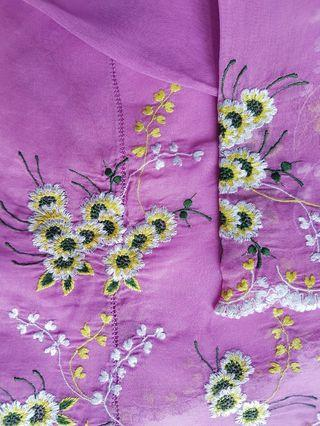 100% made in Sg. Rare! Vintage Nonya Kebaya Top made of purple coloured sheer voile embellished with embroidered small daisies.