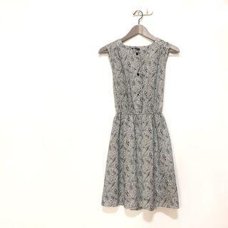 ✔️獨一無二 絕美灰白色變形蟲圖騰縮腰背心洋裝 古著洋裝 泰國帶回🇹🇭