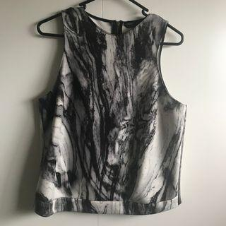 Zara Marble Back Zipper Top (Size M)