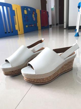 White wedges Charles & Keith