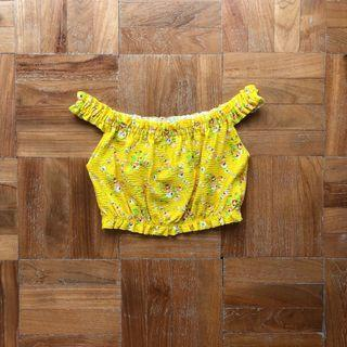 Topshop Yellow Floral Off-Shoulder Top