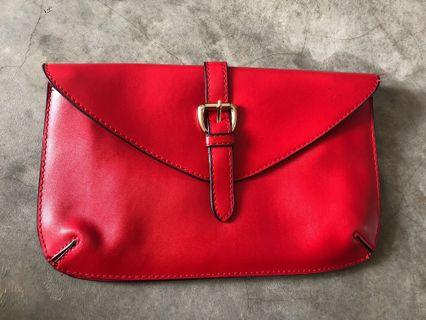 🚚 Red Faux Leather Clutch