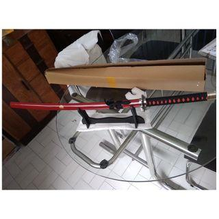 cosplay adult size katana ninja samurai wooden sword blade with sword stand  red black version