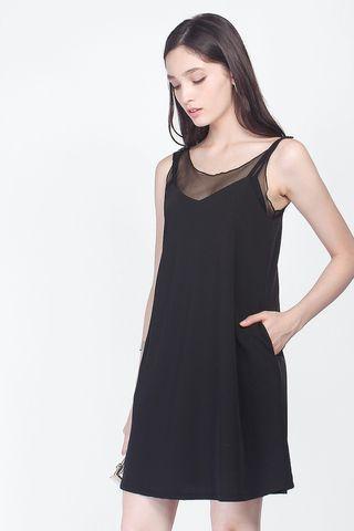<Fayth> Mandy Pocket Shift Dress in Black XS