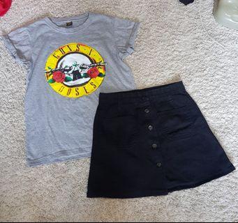 Gabi set    Grey Band folded Sleeves Tee guns n roses and Black Denim Button Down Skirt
