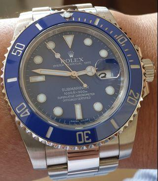 🚚 Rolex Blue Submariner 18k White Gold Smurf 116619 LB