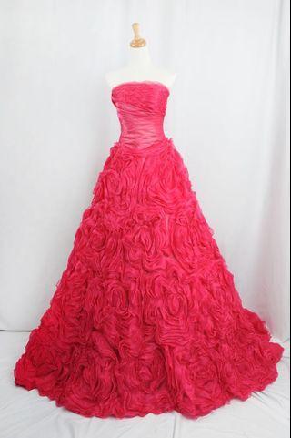 🚚 萊克二手禮服 桃紅色平口馬甲波浪層次澎裙款晚禮服