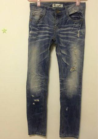 Rugged Low Rise Denim Ripped Jeans