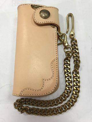 Long Leather Biker Wallet Natural Tan With 40cm Brass Chain