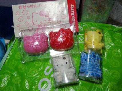 Hello Kitty 三盒小公仔及一盒soap番梘
