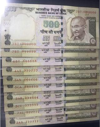 (111111 to 999999 and 1000000) old issue indian 500 Rupees Notes Gem Unc with one Super Solid Number
