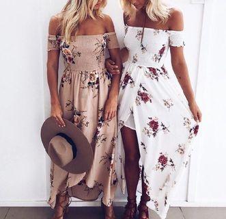 Shoulder off long summer dress