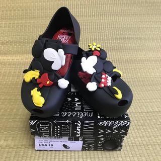 🚚 BN Mini Melissa Ultragirl + Disney Twins III Black Shoes US10 (2018)