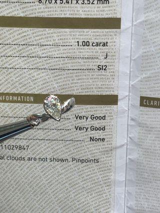 GIA: 18k金梨形鑽石💎戒指💍 1.00ct J-si2 vgvgnone 🌟✨🎁