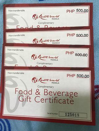 Food&Beverages Gift Cert.