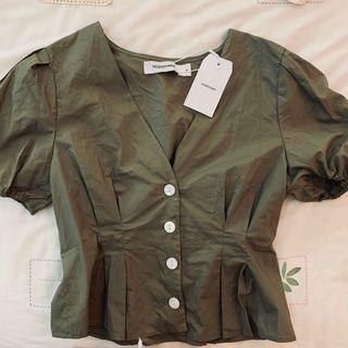 BNWT the Editors market sage Green Lissel v neck button up TOP authentic tem