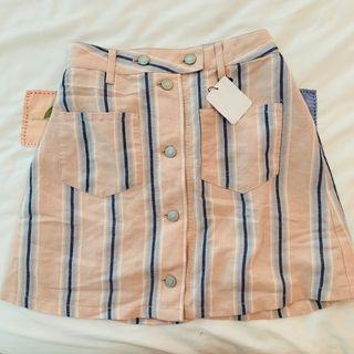BNWT wego pink and blue striped Button Down mini Skirt authentic