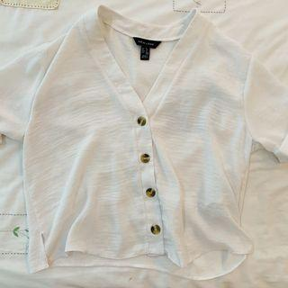 BN new look white button up short sleeve TOP authentic