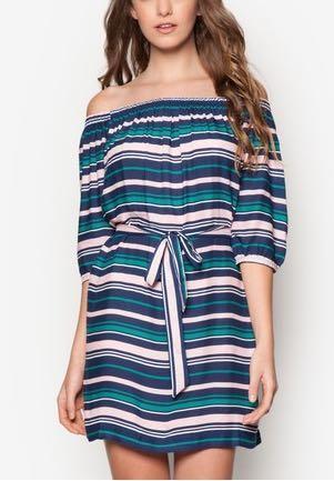Miss Selfridge Striped Bardot Dress