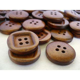 WB10089 - 20mm Simple Design Wood Buttons, Wooden Buttons (10 pieces)