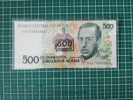 🚚 Brazil 500 Cruzados Novos Over-printed 500 cruzeiros