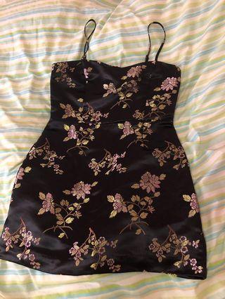 Mink pink oriental black patterned mini dress sample size m