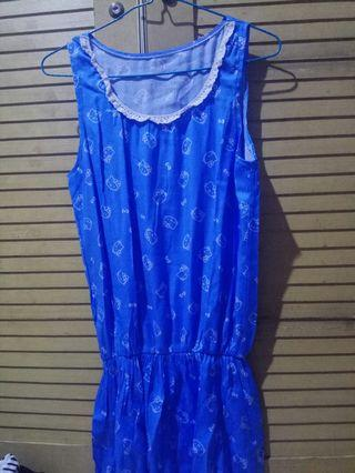 Dress Biru Hello Kitty