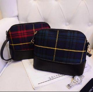 Plain Checker Sling Shoulder Zip Bag