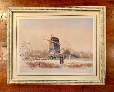 Vintage Wind Mill Art Print UK 25x19cms
