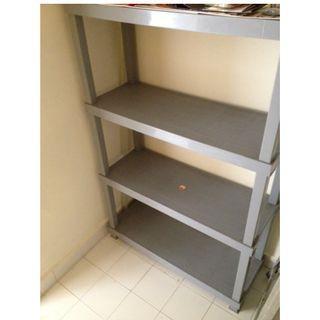 Plastic Shelving System 4-Tier Fixed Shelves Storage Rack