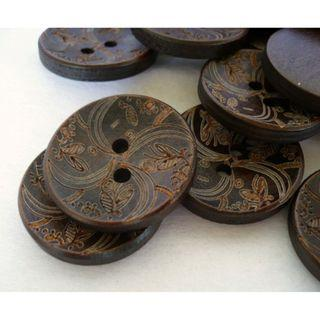 WB10007 - 25mm floral design crafted wood buttons, wooden buttons (10 pieces)  #craft