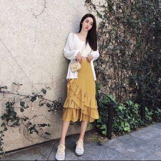 mustard polka ruffle skirt