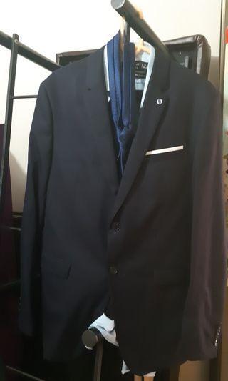 Navy Blue Zara Men Suit with Thai Silk Shirt & Tie