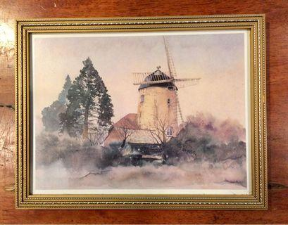 Vintage wind mill Print UK 22x17 cms