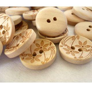 WB10007 - 18mm floral design crafted wood buttons, wooden buttons (10 pieces)  #craft
