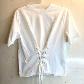 VIS cute knotted tee white oversize