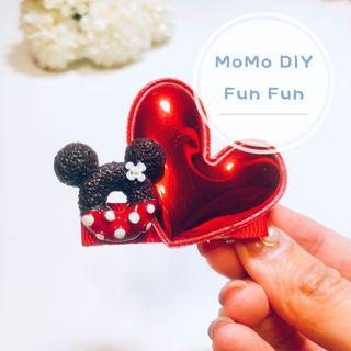 [MoMo DIY] Mickey 冬甩心心髮夾頭飾 (6cm version)
