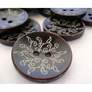 WB10042 - 30mm Crafted Wood Buttons, Wooden Buttons (10 pieces)  #craft